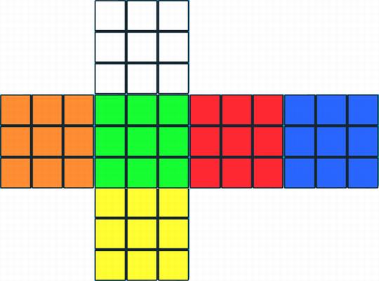 世界標準配色のルービックキューブ展開図